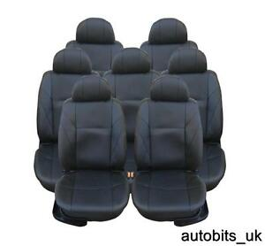 FULL SET BLACK LEATHER 7X SEAT COVERS FOR 7 SEATER PEUGEOT 806 807 ...