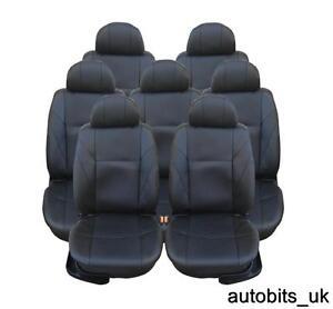 FULL SET 7X BLACK SEAT COVERS CUSHION FOR 7 SEATER VW TOURAN MPV