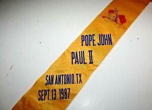 Rare Pop John Paul II Sash San Antonio Tx Sept 1987 Visit + Button