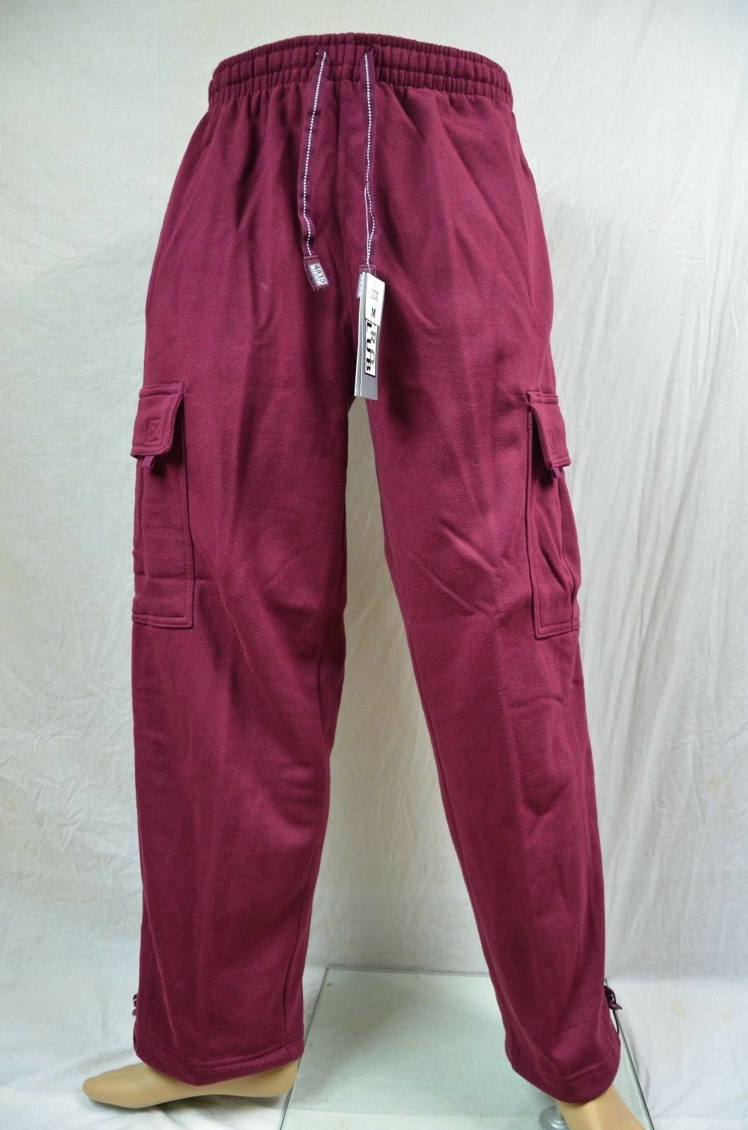 Pro Club Fleece Cargo Sweatpants Maroon Heavy Weight Jogging Mens S-7XL