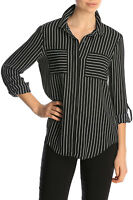 Tokito Stripe Double Pocket Long Sleeve Shirt Blk/white