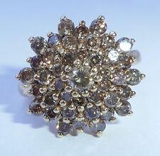 In ORO 9 CT. 1,95 CT champagne diamante anello di cluster, dimensioni P