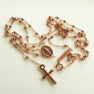 9ct-9kt-rose-Gold-rosary-beads-necklace-Miraculous-medal-amp-Cross-Italy-UnoAerre