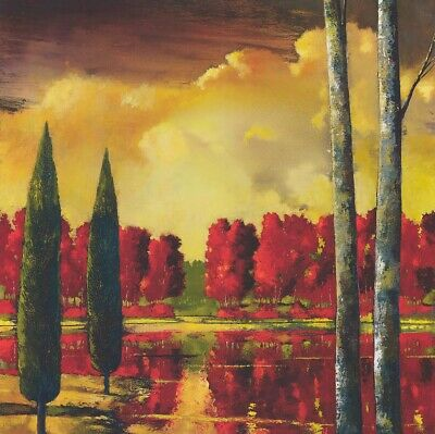 """SHRUBS RED TREES ICLOUD CANVAS 36W/""""x36H/"""" CAPTIVATING AUDIENCE by FORD SMITH"""
