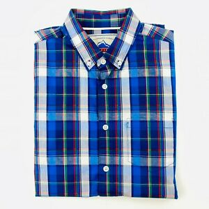 Penfield Men's Plaid Shirt Short Sleeve Button Up Check Blue Classic Fit Size S