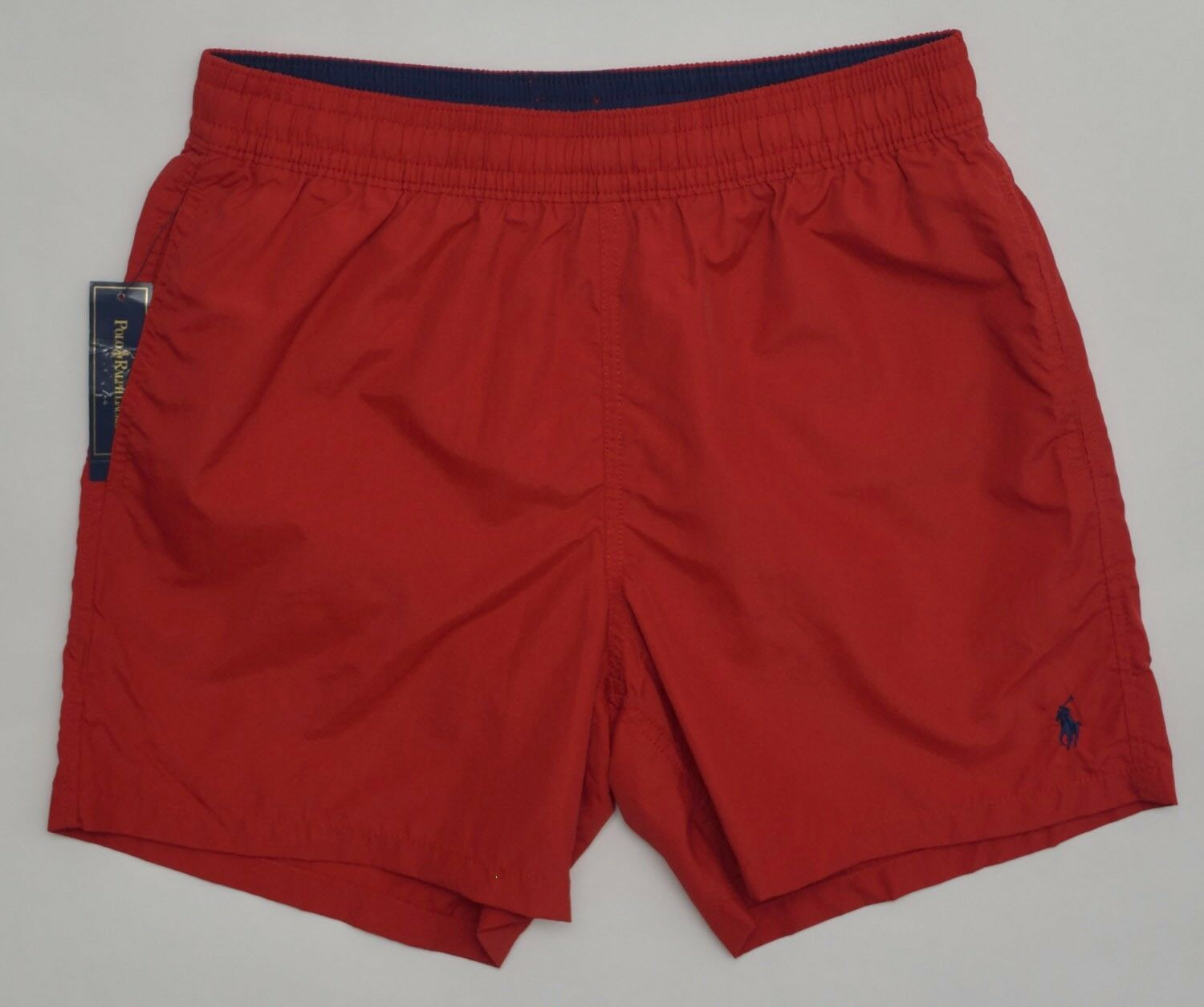Men's POLO RALPH LAUREN Red Swimsuit Trunks XL Extra Large NWT Navy Pony Nice