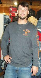 B-TUFF-JEANS-Logo-Charcoal-Grey-Gray-Long-Sleeve-Henley-Tee-T-Shirt-S00212-NWT