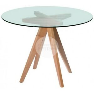 designer meals dining glass round table 100cm natural beech wood