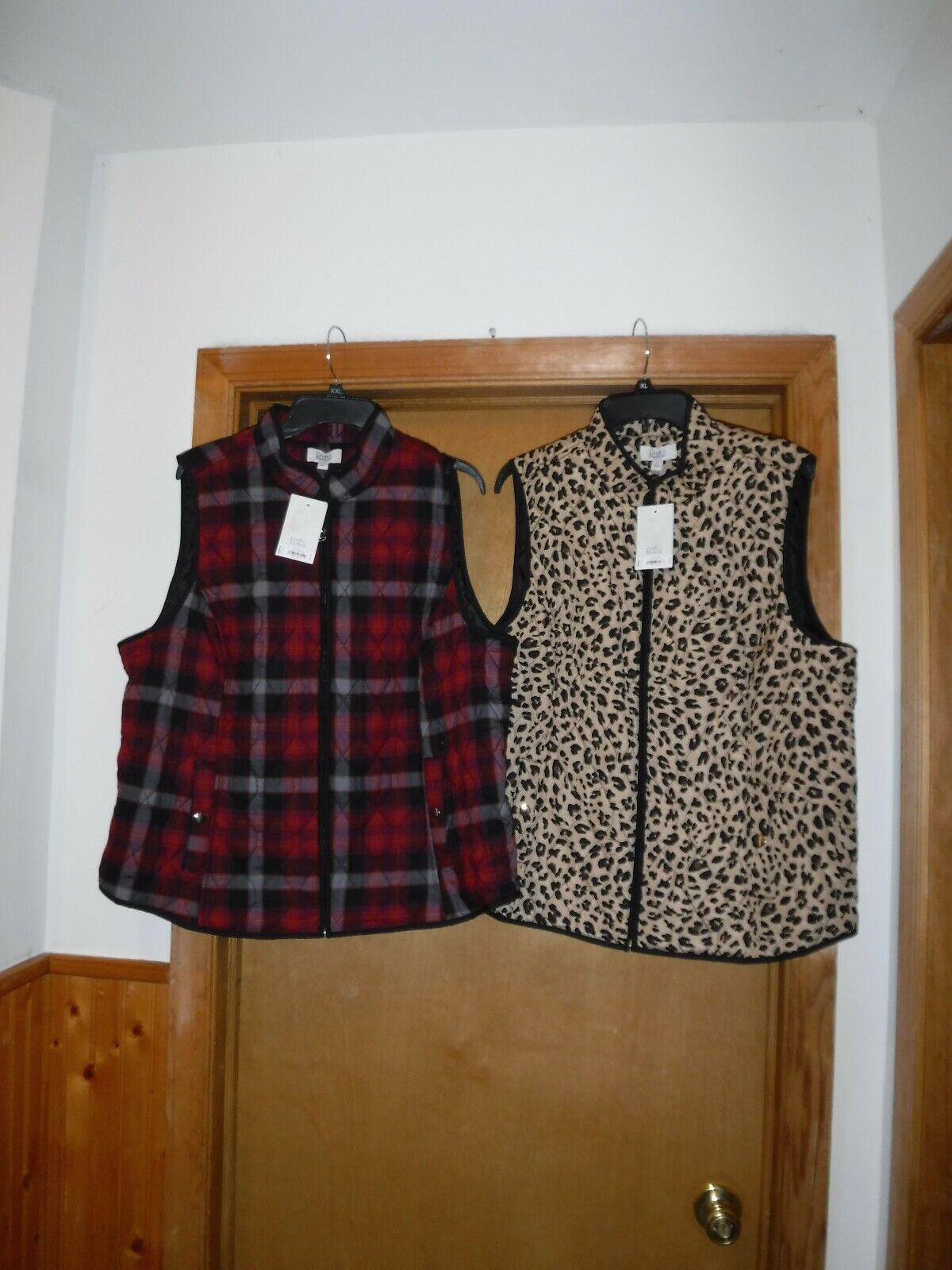 Light Weight Puffer Vests size XXL Croft & Barrow Multi Color,Full Zip 2 pockets