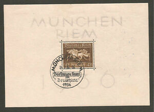 Germany-1936-Brown-Ribbon-Sheetlet-Fine-Used