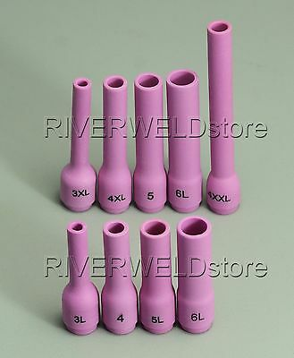 TIG boquillas de cer/ámica lente de gas Collets Bodies Gasket Cup Back Caps Fit PTA DB SR WP 9 20 25 soldadura TIG antorcha 18pcs