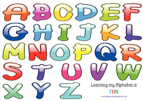 Alfabeto A4 cartazes Cor ofsted ~ Ideal Para Quarto De Bebê ~ childminder ~ Escola