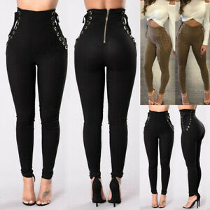 Women-Stretch-Pencil-Pants-High-Waist-Skinny-Jeggings-Jeans-Casual-Slim-Trousers