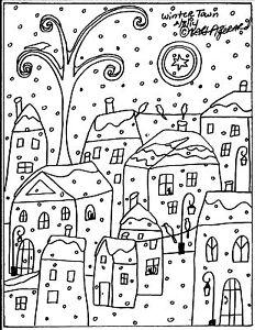RUG-HOOK-CRAFT-PAPER-PATTERN-Winter-Town-FOLK-ART-ABSTRACT-PRIM-Karla-Gerard