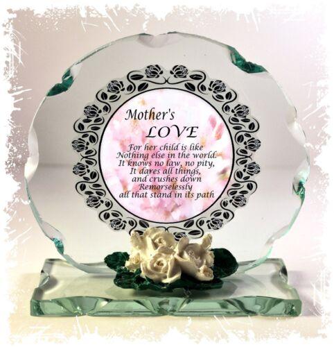 Coupe En Verre Ronde poème plaque SPÉCIAL MAMAN CADEAU #1 A Mother/'s Love
