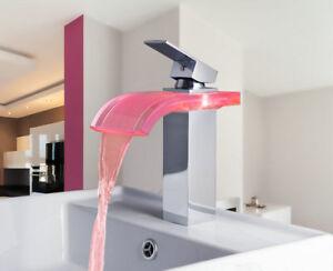 Led Light Waterfall Spout Bathroom Faucet Sink Mixer Taps Single