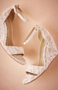 NEW Anthropologie Phoebe Lace Wedge Heels Wedding Bridal White/Gold ...