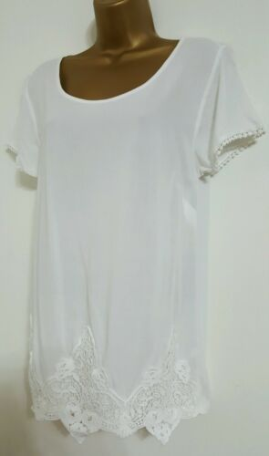NEW Ex M/&S 10-20 White Crochet Lace Embroidered Summer Holiday Top Blouse Tee