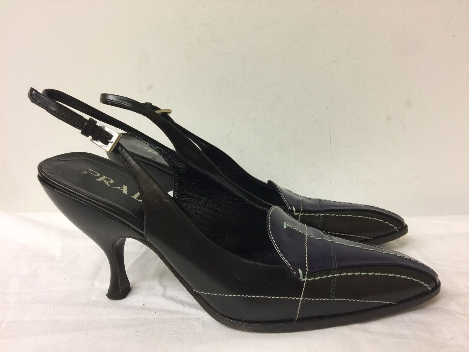 Prada Damens Leder Braun purple  Accent Pointed Toe Slingback heels SZ 37.5
