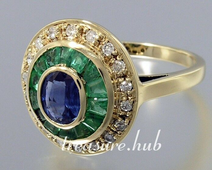 C102 Genuine 9ct gold Natural Sapphire Emerald Diamond Engagement Ring your size