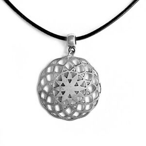 Flower-of-Life-Pendant-Seed-of-Life-Necklace-Round-Silver-Tone-with-Black-Cord