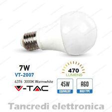 Lampadina led V-TAC 7W = 45W E27 bianco caldo 3000K VT-2007 A60 SMD globo sfera