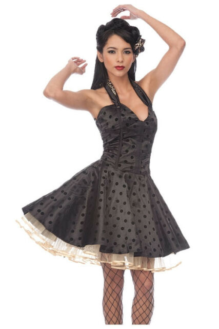 Black Satin Flocked Polka Dot Tulle Swing Dress Leopard Marilyn Monroe Pin Up