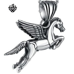 Silver flying horse pendant stainless steel pegasus necklace soft image is loading silver flying horse pendant stainless steel pegasus necklace mozeypictures Image collections