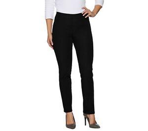Isaac-Mizrahi-Women-039-s-Petite-24-7-Denim-Straight-Leg-Jeans-Black-6P-Size-QVC