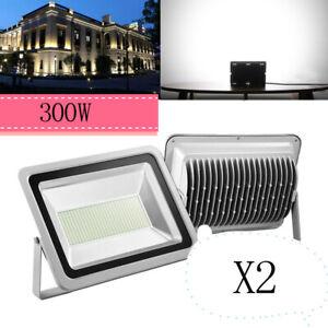 2X-300W-LED-Aussen-Sicherheit-Garten-Lampe-Strahler-Flutlicht-IP65-Weiss-30000LM