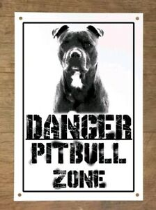 Danger-PITBULL-zone-Targa-cartello-metallo-attenti-al-cane-metal-sign