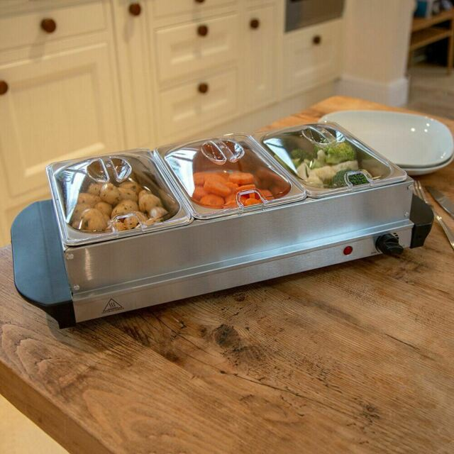 Wido 300w Stainless Steel 3 X 2.5l Buffet Server Food Warmer Hot Plate 7.5l Tray