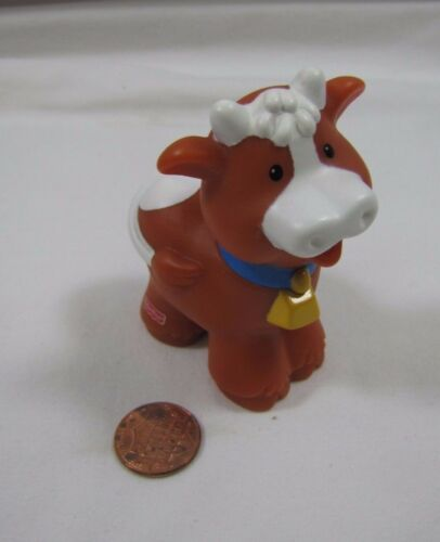 Fisher Price Little People BROWN FARM COW w// BELL for FARM ZOO Noah/'s ARK BARN