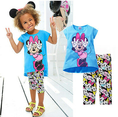 2015 Kids Baby Girls Short Sleeve Minnie T-shirt Tops +Cartoon Half Pant Set
