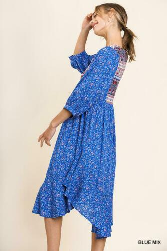Delilah Peasant Dress with High Split Double Ruffle Side Hem in Blue
