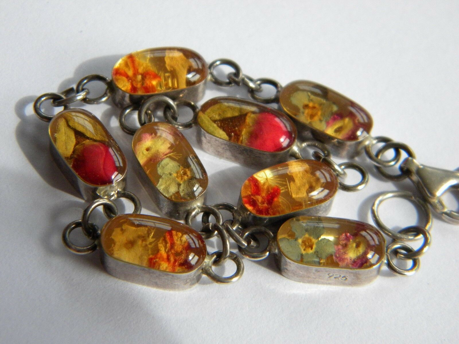 Bracciale argentoO VINTAGE 925  a a a secco fiori in celluloide argentoo 925 2c49a0