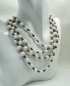 Beautiful-64-Inch-Long-Single-Strand-Of-White-And-Grey-Freshwater-Pearls