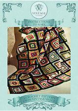 Vintage Crochet pattern-how disponer de un fácil Abuela Plaza Afgan, Cobertor, Manta