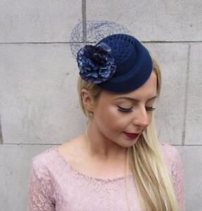 Navy Blue Flower Pillbox Hat Fascinator Hair Clip Races Headpiece ... b1479da7386