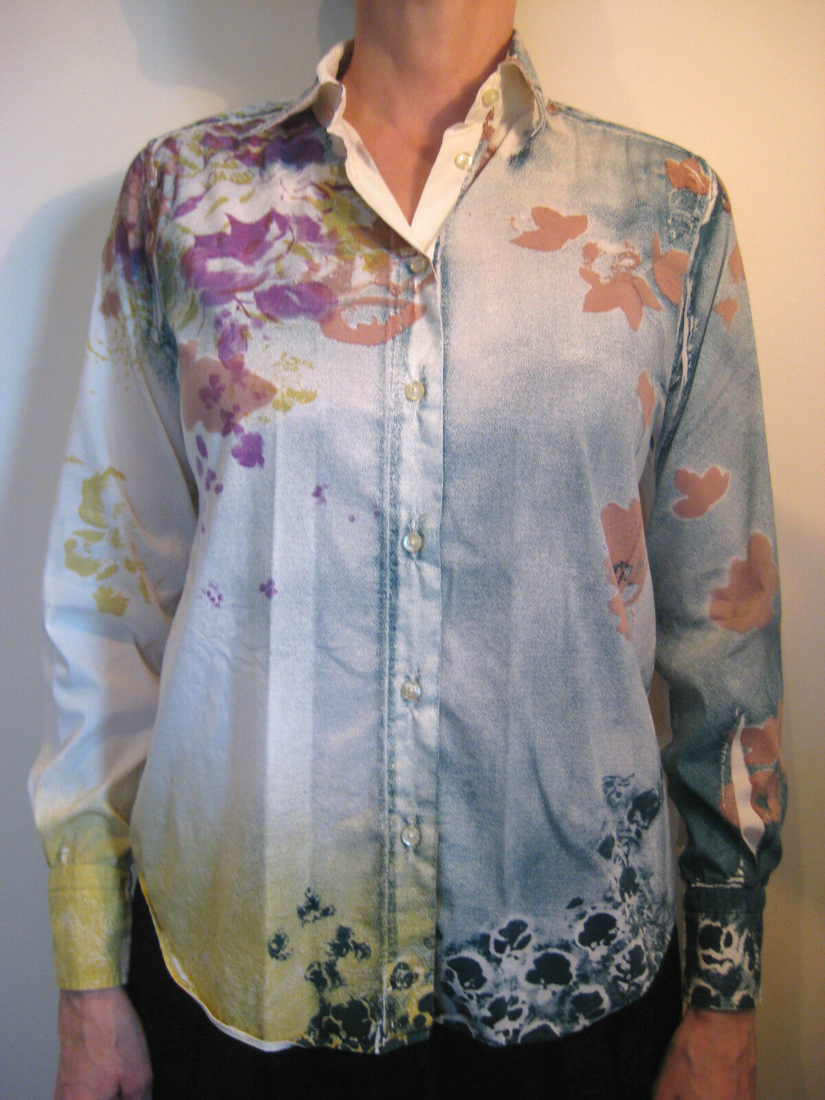 46cdd73d04 Etro Size 38 or 8 White Floral Blouse Cotton Button nrfwcj31337-Tops ...