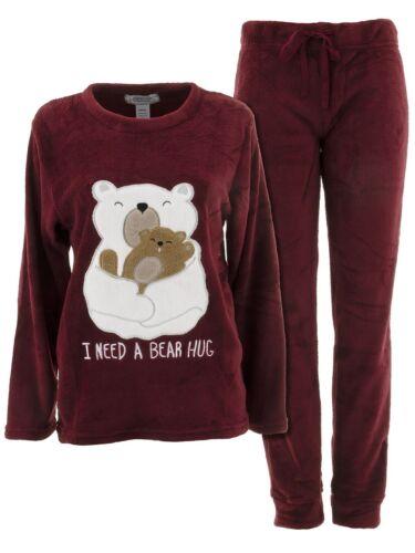 Inteco Intimates Juniors Burgundy Bear Hug Plush Fleece Long Sleeved Pajama Set