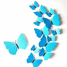 ADMI Removable 12 Pcs 3D Butterfly Wall Sticker For Home Decor - Plain Blue