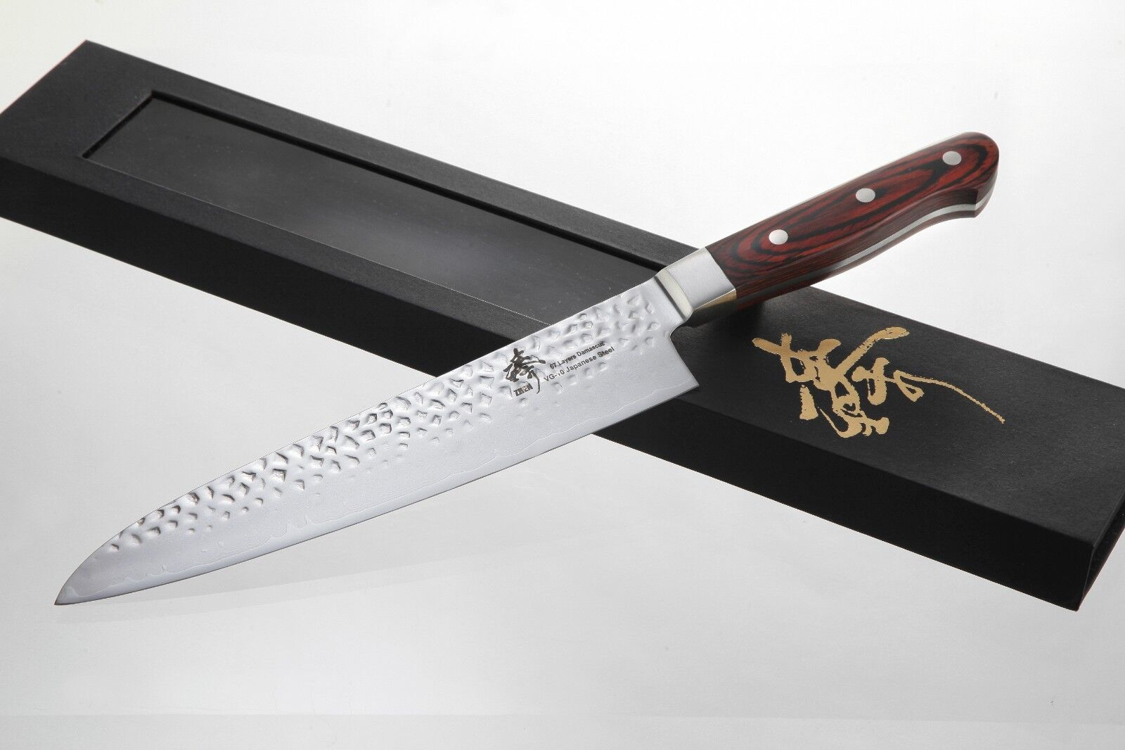 ZHEN Japanese VG-10 Hammerot 67 Layers Damascus Steel Steel Steel Gyuto Chef Knife, 9.5-Inch b4a2b5