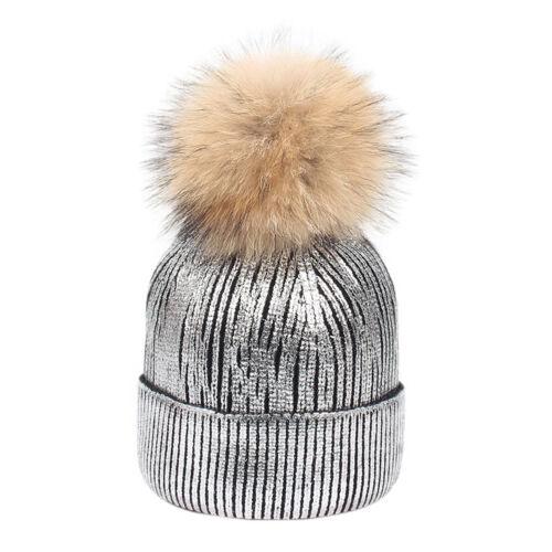 Lk /_ Eg /_ Damen Gestrickte Mütze Winter Zubehör Bronzing Bommel Hut Otenkopf W