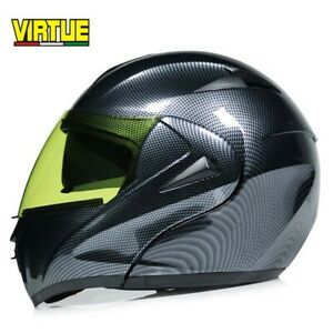 DOT-Bluetooth-Flip-Up-Motorcycle-Helmet-Modular-Helmet-Full-Face-Yellow-Visor-M