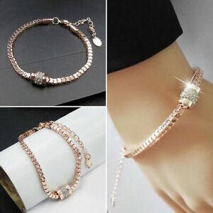 WomenRhinestone-Rose-Gold-Plated-Crystal-Bracelet-Bangle-Hi-Day-Valentine-039-s-Z3N3