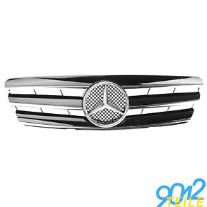 fuer-Mercedes-Grill-W203-S203-Limo-Touring-GLANZ-SCHWARZ-Kuehlergrill-Frontgrill