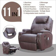 Brown Massage Recliner Sofa Chair Ergonomic Lounge Swivel Heated W/Control