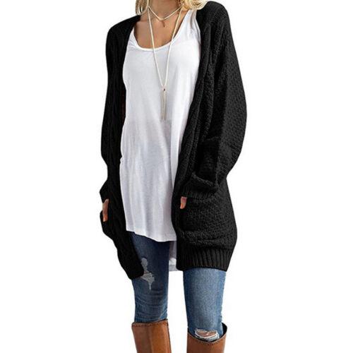 Damen Cardigan Strickjacke Mantel Weste Pullover Bluse Outwear Jacke Strickwaren