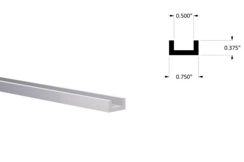 "4pcs Aluminum Channel: 3//4/"" W x 3//8/"" H x 1//8/"" Wall Fits 1//2/"" Mill Finish 1 Foot"